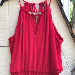 ANTHROPOLOGIE red halter jumpsuit SMALL